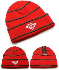 Diamond Supply Company New Stripe Cuffed Red Black Knit Skull Beanie Era Hat Cap