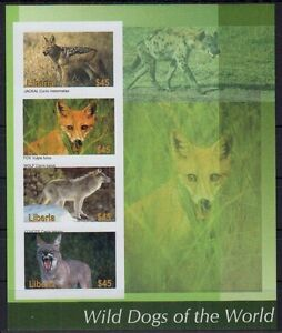Imperf, Jackal, Fox Wolf Coyote Wild Dogs, Liberia 2005 MNH SS