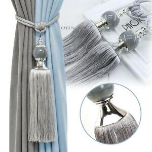 Pair Luxury Curtain Holdbacks Rope Tie Backs Tassel Tiebacks Beaded Ball Decor