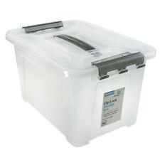 6 x Medium Clip Lock Clear Plastic Storage Carry Box w/ Handle Container Tub 9L
