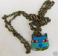 COLOURFUL CAT FACE TURQUOISE PENDANT CHARM ON A BRONZED TONE 44CM CHAIN