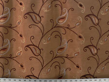 Drapery Upholstery Fabric Embroidered Faux Silk Floral - Copper Multi
