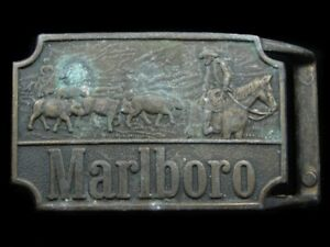 RL09145 VINTAGE 1970s *MARLBORO* CIGARETTES & TOBACCO ADVERTISEMENT BELT BUCKLE
