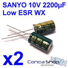 2 x CONDENSADOR ELECTROLITICO SANYO 10V 2200uF 105º serie WX BAJA IMPEDANCIA