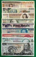 SET of 9 MEXICO BANKNOTES SERIES 5,10,20,50,100,500,1000 2000 5000 PESOS UNC LOT