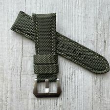 Green Nylon Canvas leather watch strap Band For 22/24/26mm Panerai PAM Watches