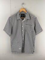 Black Friday Men's Short Sleeved Button Up Shirt Size L Black White