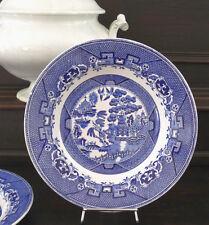 """2 antike Teller Sarreguemines, """"Willow"""", Motiv Asien, blau, Frankreich"""