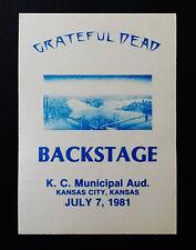 Grateful Dead Backstage Pass Kansas City Royals Blue KC 7/7/1981 Municipal Aud.
