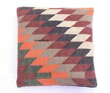 "Indian Handwoven Cushion Cover 18x18"" Jute Rug Kilim Pillow Handloomed Covers"