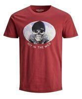 Jack & Jones Mens T-Shirt Red Medium M Slim Fit Skull Graphic Tee Crewneck 144