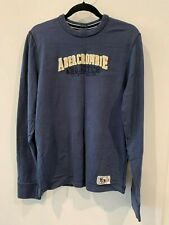 ABERCROMBIE&FITCH Mens MUSCLE Fit Applique Logo Crewneck Icon SWEAT SHIRT~Navy/L