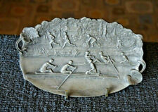 ART NOUVEAU ETAIN FIN PEWTER PIN DISH FIGURES SCULLING BICYCLING RUNNING