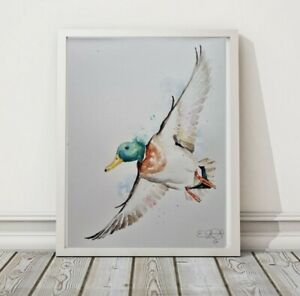 New Elle Smith large original signed watercolour art painting of a Mallard Duck