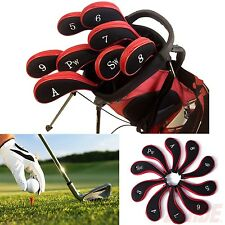 Red Neoprene Long Sleeve Zipper Golf Club Iron Putter Head Cover Sock Skin 10 pc