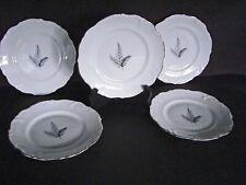 Winterling Bavarian China Black / Gray Fern Platinum Trim Butter Pat Plate's