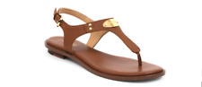 Michael Kors MK Plate Thong Sandals Luggage Leather Sz 11m