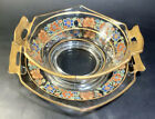 Vintage Clear Glass Serving Bowl and Plate with multi-colored Flowers Gold Trim