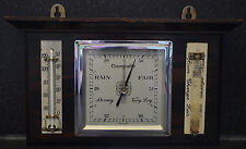 Beautiful Antique Art Deco Barometer, Themometer & Storm Glass Weather Station