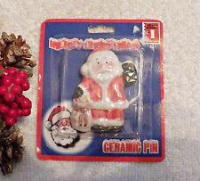 Jolly Kris Kringle Tree Ceramic X20M Father Christmas Pin Brooch Santa Claus