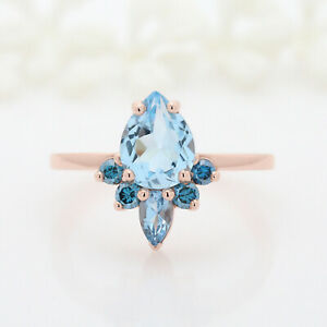 14K Rose Gold Over 1.22ct Pear cut Blue Topaz Engagement Wedding Ring