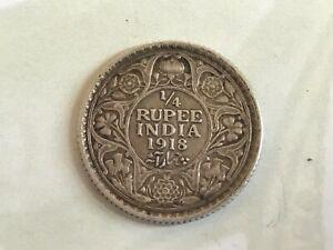 1918 British India Quarter Rupee - George V Silver (.917) 2.92g 19 mm KM# 518