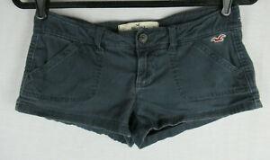 Womens Hollister Twill Shorts Navy Blue Social Stretch Size 1 EUC