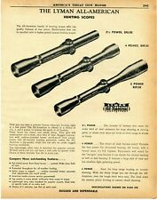 1957 Print Ad of Lyman All-American Hunting Rifle Scopes
