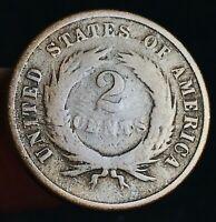 1865 Two Cent Piece 2C Ungraded Good Date Civil War Era US Copper Coin CC6439