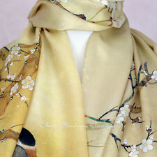100% Silk Scarf Genuine Real Pure Mulberry Floral Gold Long Shawl Wrap Stole New