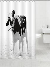 blanco y negro Holstein friesians VACA Pastoreo Baño Cortina de ducha poliéster