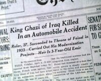 GHAZI OF IRAQ King of Hashemite Kingdom Faisal I Son KILLED Death 1939 Newspaper