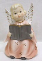 Vintage LEFTON Bisque Sitting Angel Figurine Pink Dress Holds Song Book Japan