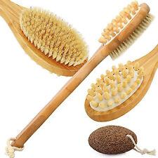 Bath Brush Bamboo Shower Body Brush Long Wooden Handle Back Scrubber Massager