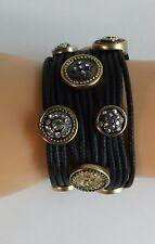 Chico's Black Vinyl Multi Strand Jeweled Charms Adorned Wide Band Bracelet w/BAG