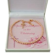 Girls Christening Bracelet, Rose Gold Beads. Gift for Daughter, Goddaughter etc