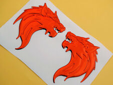 Pair 3D Red Wolf Decal Sticker Badge Emblems Motorcycle L/R Tank Fairing Fender