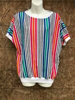 D.k. Gold By Donn Kenny T shirt striped Blouse Womens Medium vintage 80's