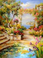 Original Oil Painting, Mediterranean View Garden, Signed by Angelo R, Wall Art
