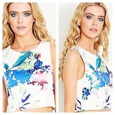 Lipsy Size 18 VIP Floral Print Crop TOP Lace Shoulders Party Occasion Races £55
