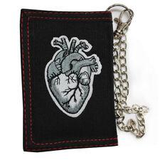 Black Heart Vampire Triple Fold Canvas Wallet