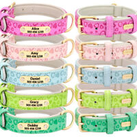 Personalised Dog Collar Soft PU Leather Padded ID Name Tag Collar with D-ring