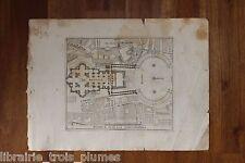 ✒ GRAVURE 18e ROME Basilique Saint Pierre Vatican - plan