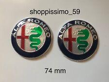 2x ALFA ROMEO 74mm Stemma Logo adesivo per Mito 147 156 159 166 Giulietta