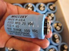 Mallory 2000 MFD 75 VDC Max Surge 100 VDC CAPACITORS POS +85 CGR202U075R2C
