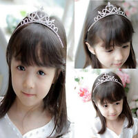 Kids Girls Wedding Prom Silver Crystal Rhinestones Tiara Princess Crown Headband