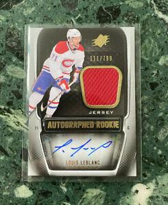 2011-12 Upper Deck Spx LOUIS LEBLANC Rookie Auto Patch /799 !! Canadiens RC !!