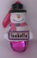 25341 ISABELLA NAME FROSTY SNOWMAN COLOUR BELL CHRISTMAS TREE DECORATION GIFT