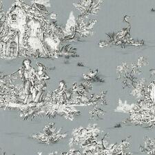 Textiles français Toile de Jouy Fabric (La Grande Vie Rustique) Solid Grey