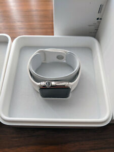 Apple Watch 38mm Stainless Steel Case White Sport Band - A1553 (MJ302LL/A)